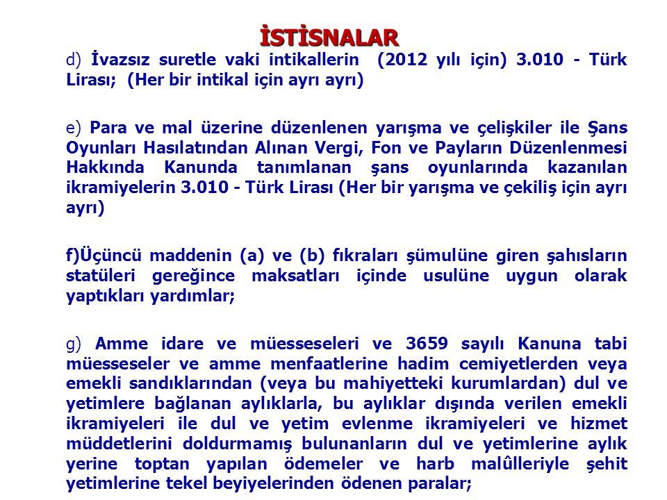İSTİSNALAR d) İvazsız suretle vaki intikallerin (2012 yılı için) 3.010 - Türk Lirası; (Her bir intikal için ayrı ayrı) e) Para ve mal üzerine düzenlen