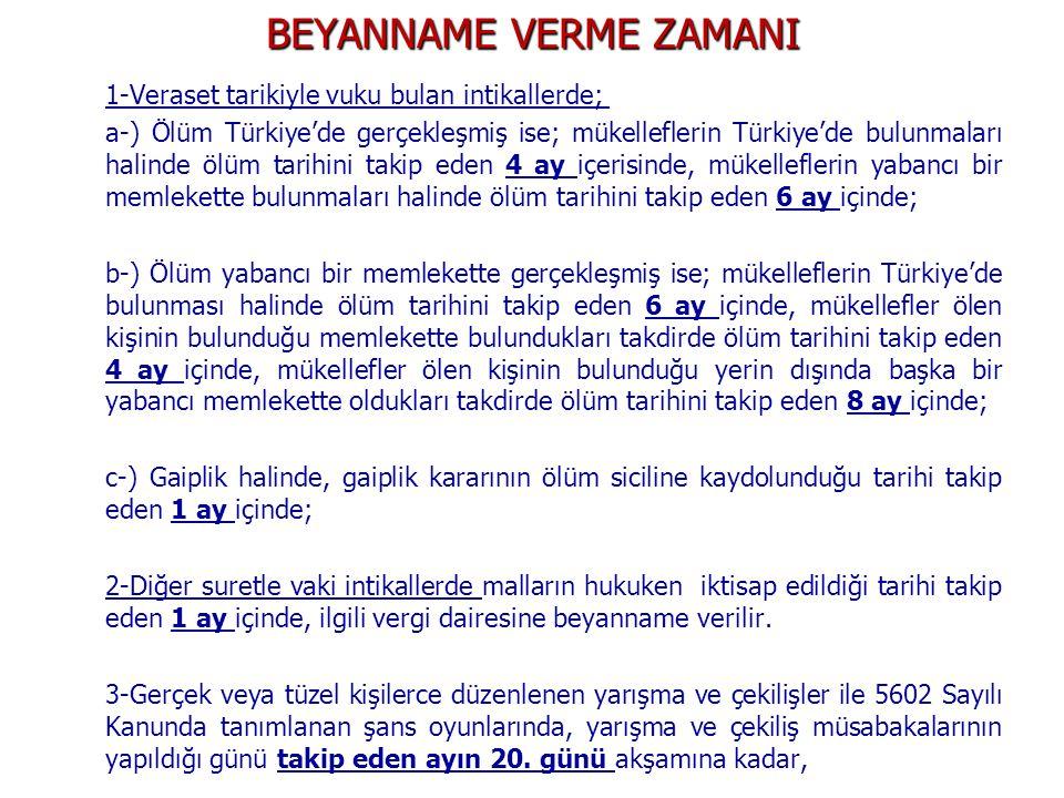 BEYANNAME VERME ZAMANI 1-Veraset tarikiyle vuku bulan intikallerde; a-) Ölüm Türkiye'de gerçekleşmiş ise; mükelleflerin Türkiye'de bulunmaları halinde