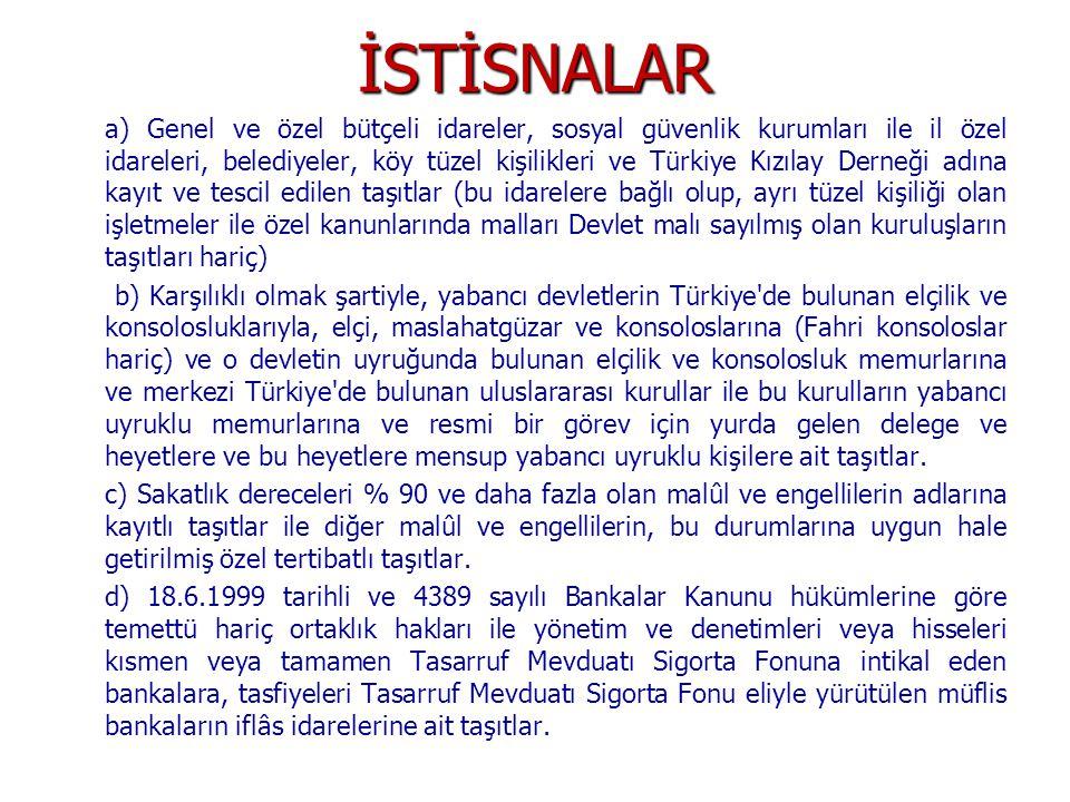 İSTİSNALAR a) Genel ve özel bütçeli idareler, sosyal güvenlik kurumları ile il özel idareleri, belediyeler, köy tüzel kişilikleri ve Türkiye Kızılay D