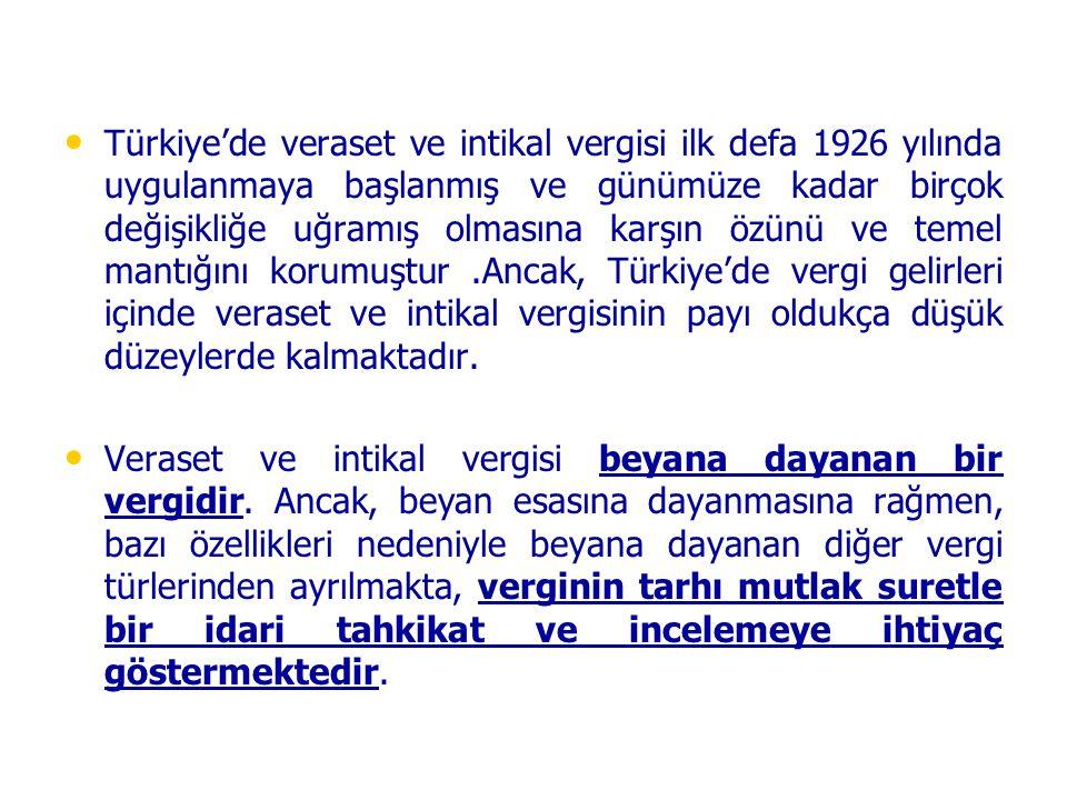 Türkiye'de veraset ve intikal vergisi ilk defa 1926 yılında uygulanmaya başlanmış ve günümüze kadar birçok değişikliğe uğramış olmasına karşın özünü v