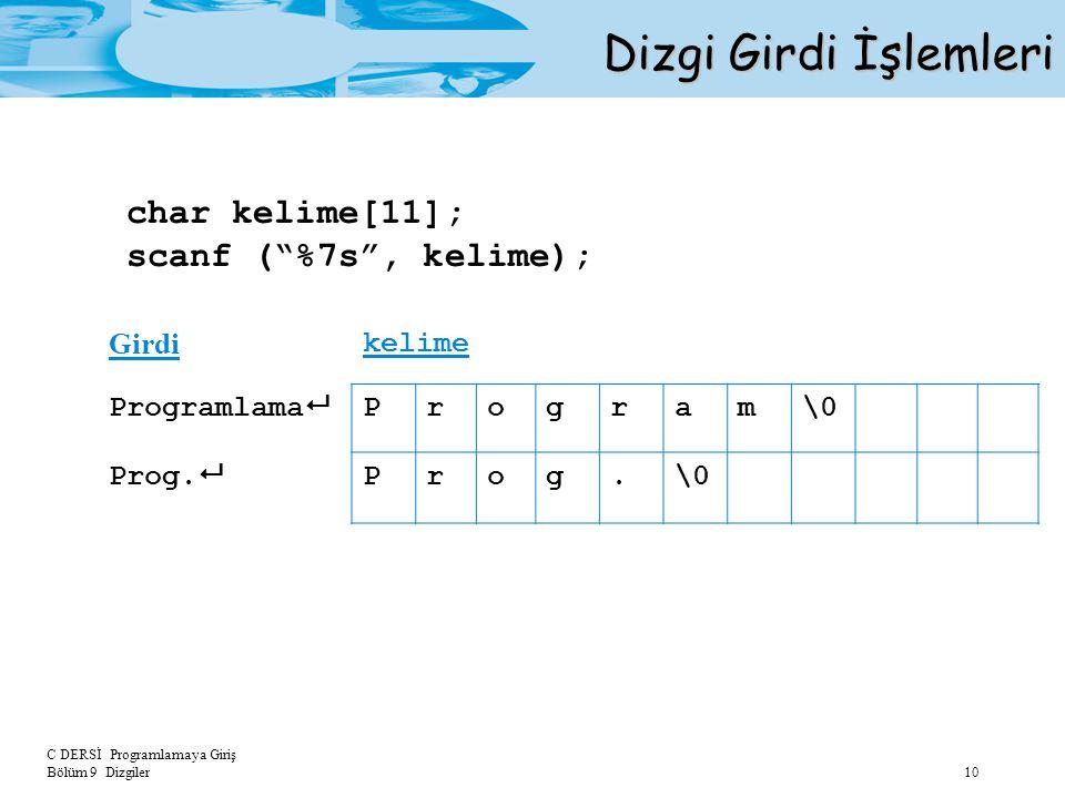 """C DERSİ Programlamaya Giriş Bölüm 9 Dizgiler 10 Dizgi Girdi İşlemleri char kelime[11]; scanf (""""%7s"""", kelime); Girdi kelime Programlama  Program\0 Pro"""
