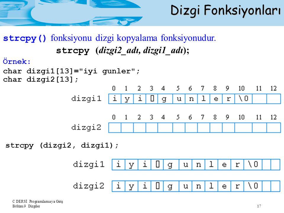 C DERSİ Programlamaya Giriş Bölüm 9 Dizgiler 17 Dizgi Fonksiyonları strcpy (dizgi2_adı, dizgi1_adı); Örnek: char dizgi1[13]=