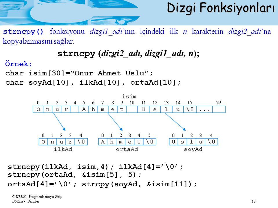 """C DERSİ Programlamaya Giriş Bölüm 9 Dizgiler 18 Dizgi Fonksiyonları strncpy (dizgi2_adı, dizgi1_adı, n); Örnek: char isim[30]=""""Onur Ahmet Uslu""""; char"""