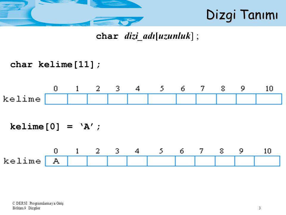 C DERSİ Programlamaya Giriş Bölüm 9 Dizgiler 3 Dizgi Tanımı char dizi_adı[uzunluk] ; char kelime[11]; kelime[0] = 'A';