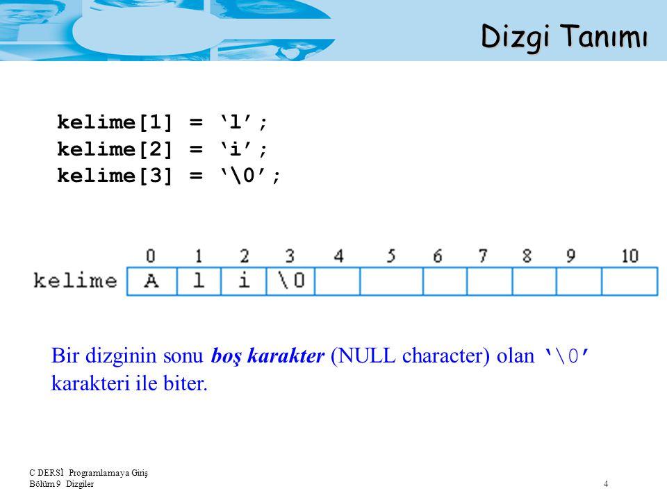 C DERSİ Programlamaya Giriş Bölüm 9 Dizgiler 5 Dizgi Tanımı char dizi_adı[uzunluk] = dizgi_sabiti; char ad[30]= IRMAK ; ad[0]='E'; Dizgileri tanımlarken ilk değerini de atayabiliriz.