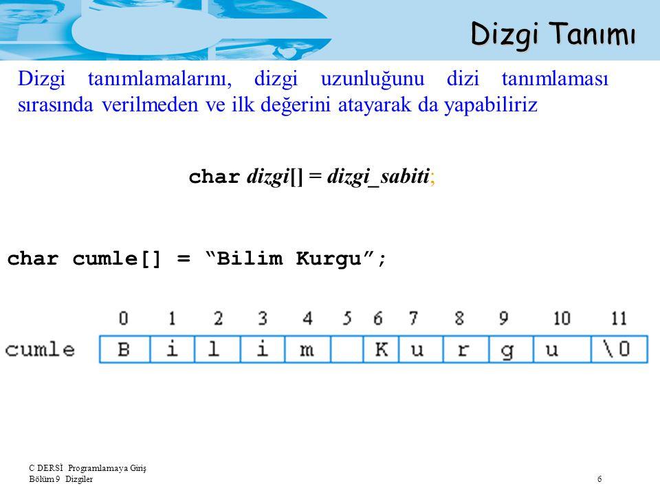 """C DERSİ Programlamaya Giriş Bölüm 9 Dizgiler 6 Dizgi Tanımı char dizgi[] = dizgi_sabiti; char cumle[] = """"Bilim Kurgu""""; Dizgi tanımlamalarını, dizgi uz"""