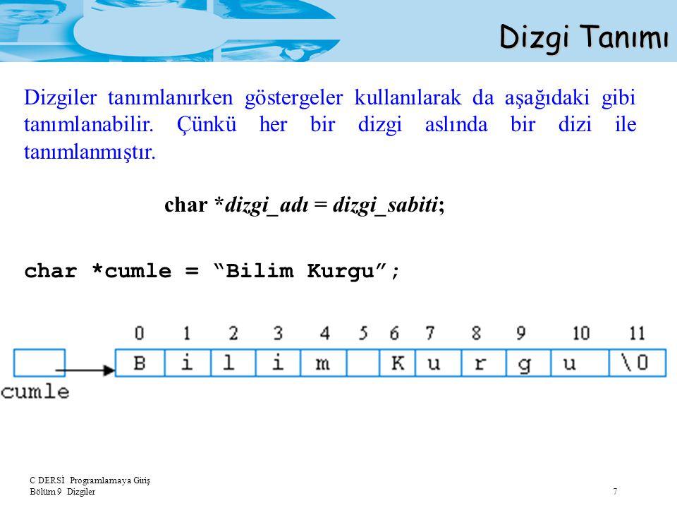 C DERSİ Programlamaya Giriş Bölüm 9 Dizgiler 8 Dizgi Tanımı char cumle[] = Merhaba Dunya ; int say = 0; int i; for (i = 0; cumle[i] != \0 ; i++) say++; printf( %s %d karakter icerir. , cumle, say); Örnek: Çıktı: Merhaba Dunya 13 karakter icerir.