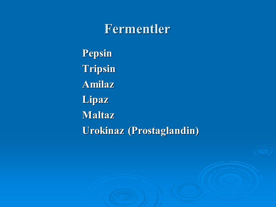 Fermentler PepsinTripsinAmilazLipazMaltaz Urokinaz (Prostaglandin)