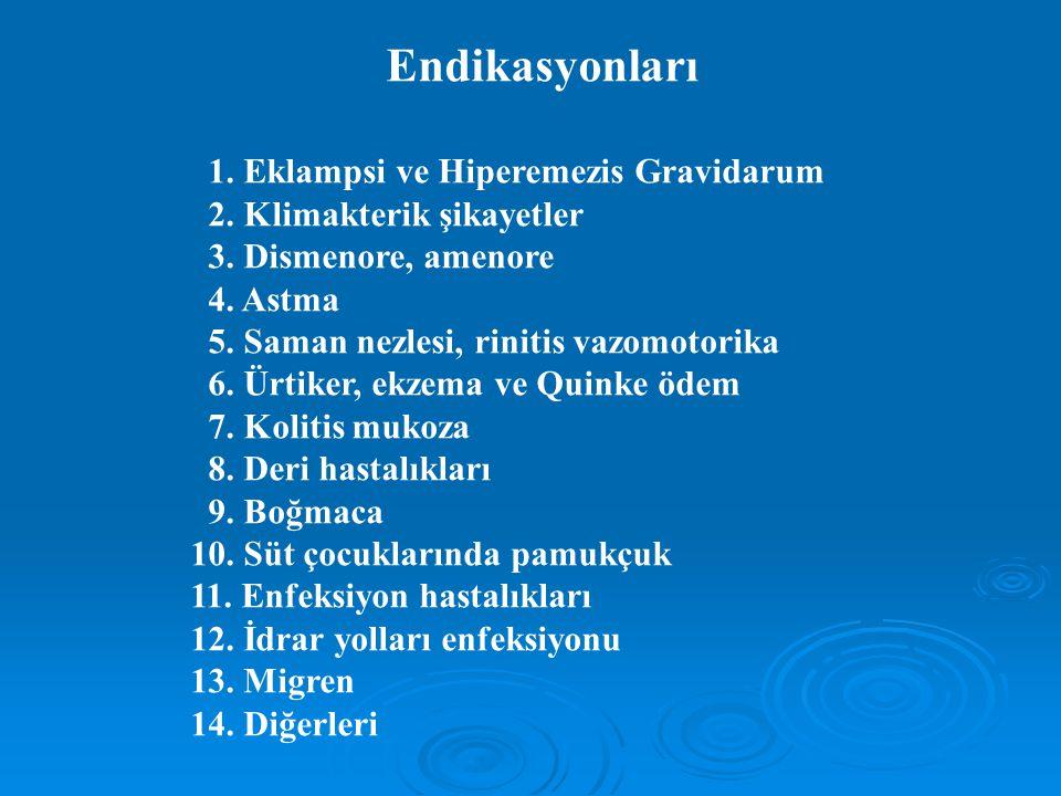 Endikasyonları 1. Eklampsi ve Hiperemezis Gravidarum 2. Klimakterik şikayetler 3. Dismenore, amenore 4. Astma 5. Saman nezlesi, rinitis vazomotorika 6