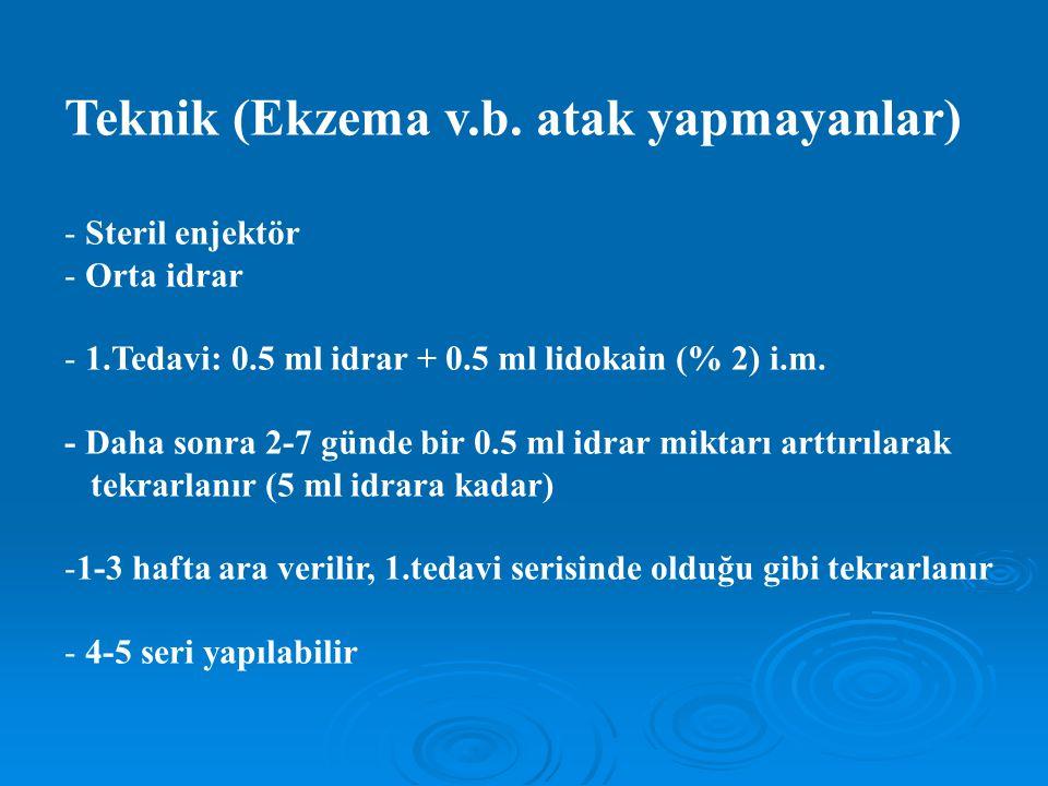 Teknik (Ekzema v.b. atak yapmayanlar) - Steril enjektör - Orta idrar - 1.Tedavi: 0.5 ml idrar + 0.5 ml lidokain (% 2) i.m. - Daha sonra 2-7 günde bir