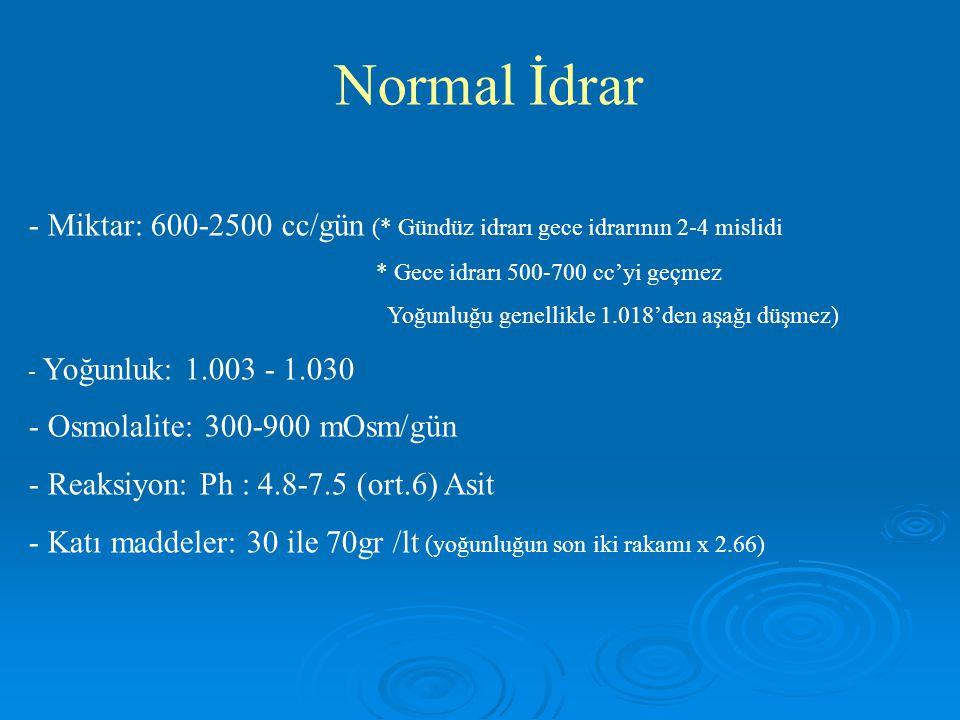 Normal İdrar - Miktar: 600-2500 cc/gün (* Gündüz idrarı gece idrarının 2-4 mislidi * Gece idrarı 500-700 cc'yi geçmez Yoğunluğu genellikle 1.018'den a