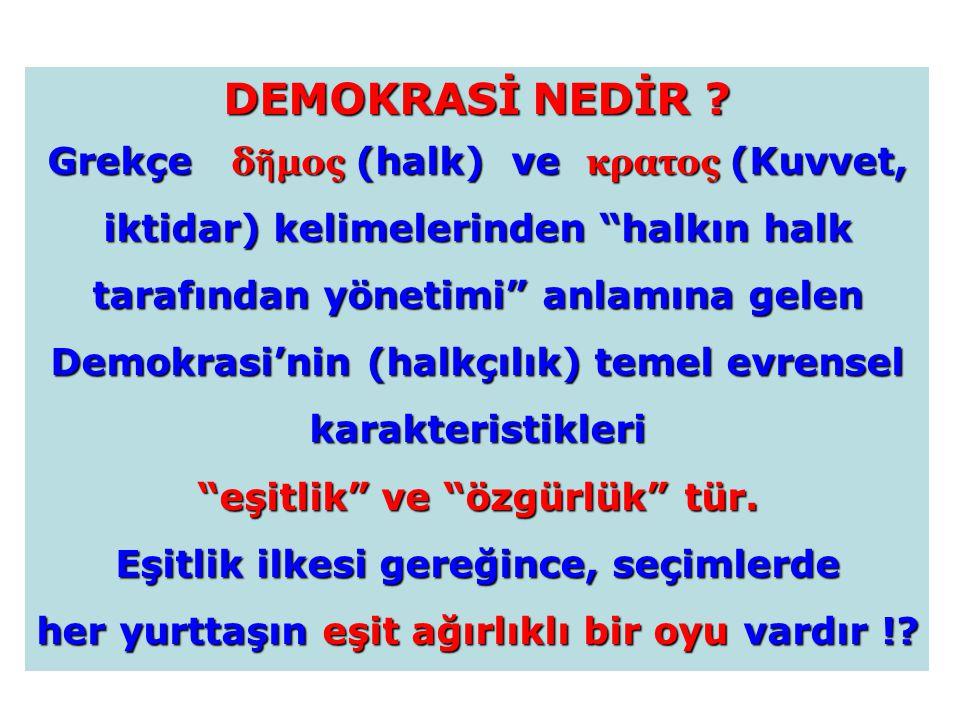 """DEMOKRASİ NEDİR ? Grekçe δ ῆ μος (halk) ve κρατος (Kuvvet, iktidar) kelimelerinden """"halkın halk tarafından yönetimi"""" anlamına gelen Demokrasi'nin (hal"""