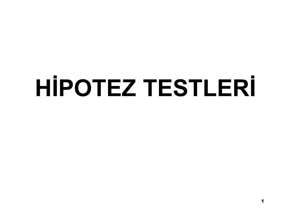 12 Hipotez testi adımları: 1.H 0 ' ı belirle.2.H 1 'i belirle.