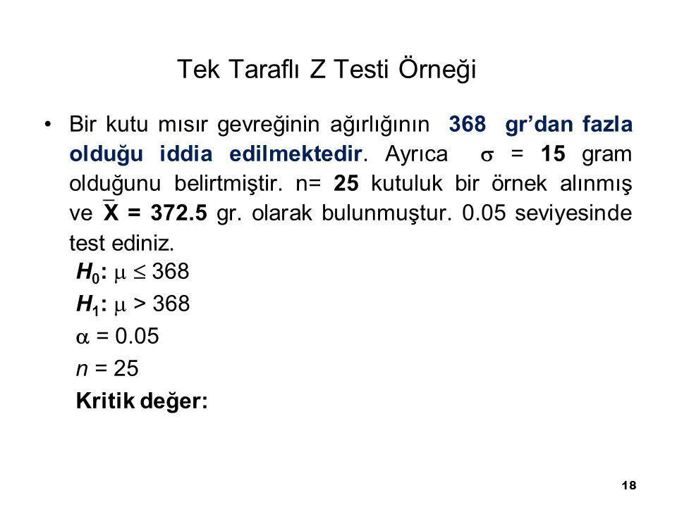 18 Tek Taraflı Z Testi Örneği Bir kutu mısır gevreğinin ağırlığının 368 gr'dan fazla olduğu iddia edilmektedir. Ayrıca  = 15 gram olduğunu belirtmişt