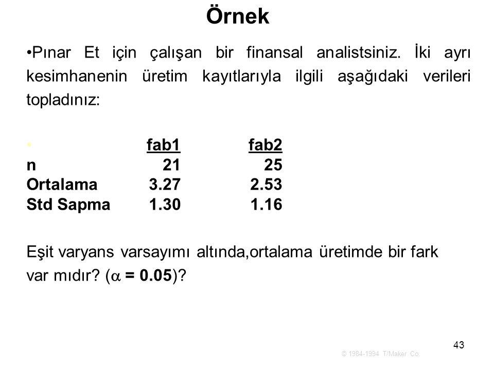 43 Örnek Pınar Et için çalışan bir finansal analistsiniz. İki ayrı kesimhanenin üretim kayıtlarıyla ilgili aşağıdaki verileri topladınız: fab1 fab2 n