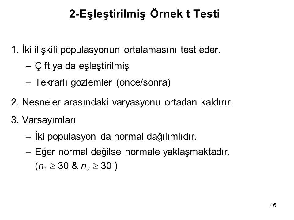 46 2-Eşleştirilmiş Örnek t Testi 1.İki ilişkili populasyonun ortalamasını test eder. –Çift ya da eşleştirilmiş –Tekrarlı gözlemler (önce/sonra) 2.Nesn