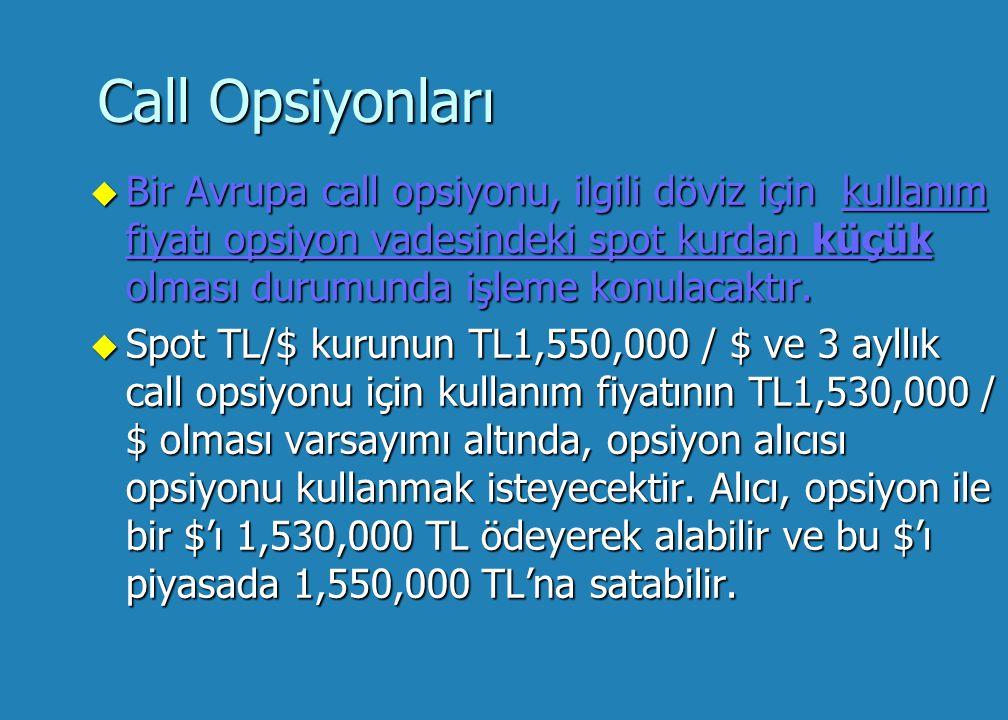 Call Opsiyonları u Bir Avrupa call opsiyonu, ilgili döviz için kullanım fiyatı opsiyon vadesindeki spot kurdan küçük olması durumunda işleme konulacaktır.