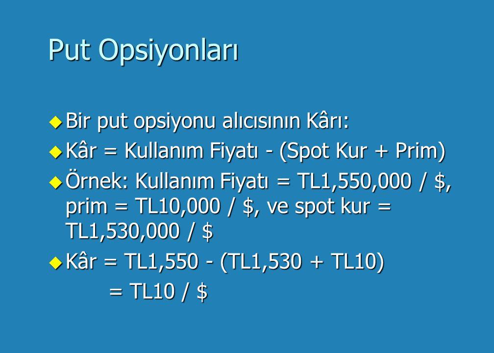 Put Opsiyonları u Bir put opsiyonun alıcısı, opsiyonun kullanım fiyatı ilgili dövizin spot kurundan büyük olması durumunda kazançlı olacaktır.