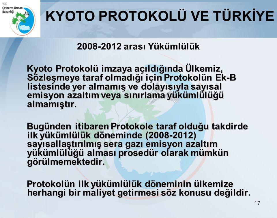 17 KYOTO PROTOKOLÜ VE TÜRKİYE 2008-2012 arası Yükümlülük Kyoto Protokolü imzaya açıldığında Ülkemiz, Sözleşmeye taraf olmadığı için Protokolün Ek-B li