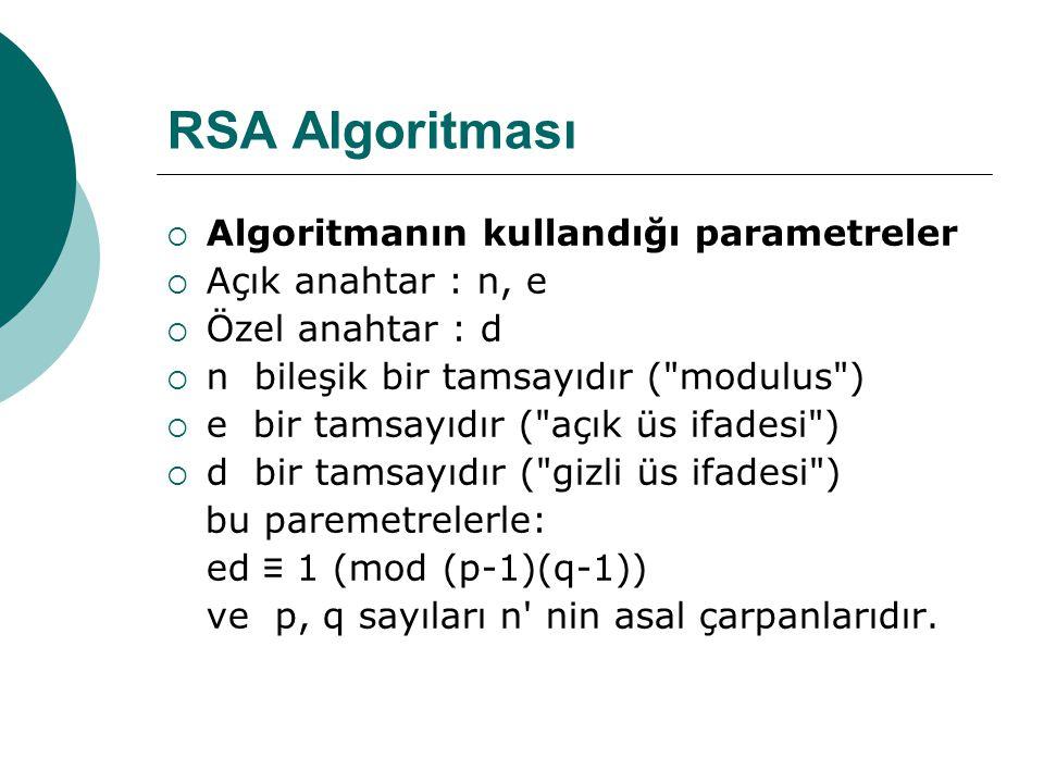RSA Algoritması  Algoritmanın kullandığı parametreler  Açık anahtar : n, e  Özel anahtar : d  n bileşik bir tamsayıdır ( modulus )  e bir tamsayıdır ( açık üs ifadesi )  d bir tamsayıdır ( gizli üs ifadesi ) bu paremetrelerle: ed ≡ 1 (mod (p-1)(q-1)) ve p, q sayıları n nin asal çarpanlarıdır.