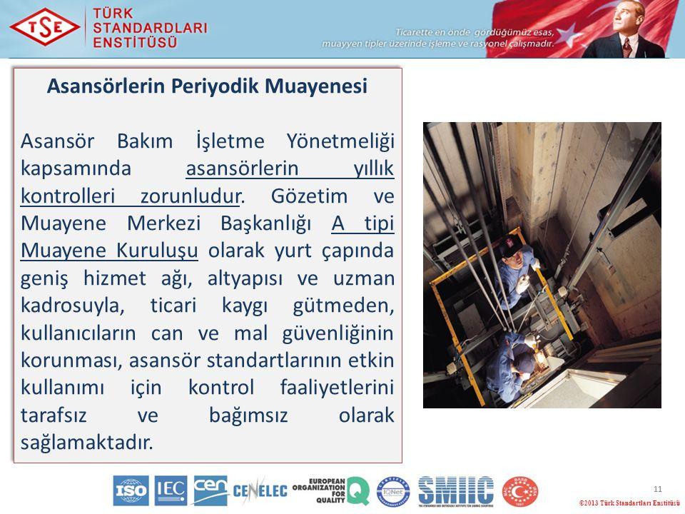 11 ©2013 Türk Standartları Enstitüsü Asansörlerin Periyodik Muayenesi Asansör Bakım İşletme Yönetmeliği kapsamında asansörlerin yıllık kontrolleri zor