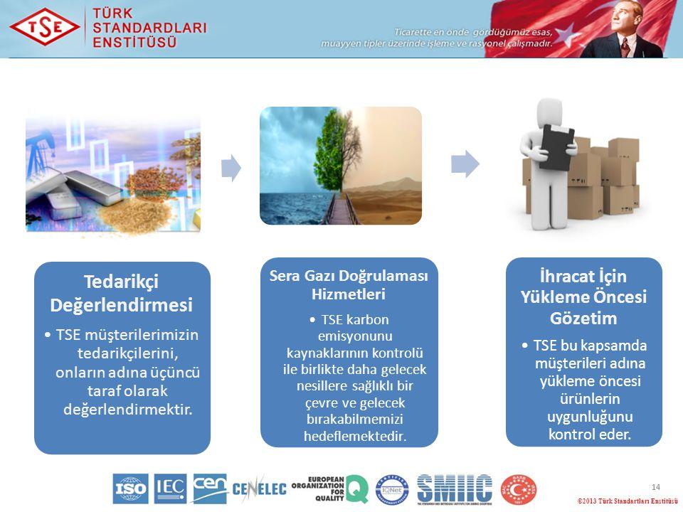 14 ©2013 Türk Standartları Enstitüsü Tedarikçi Değerlendirmesi TSE müşterilerimizin tedarikçilerini, onların adına üçüncü taraf olarak değerlendirmekt