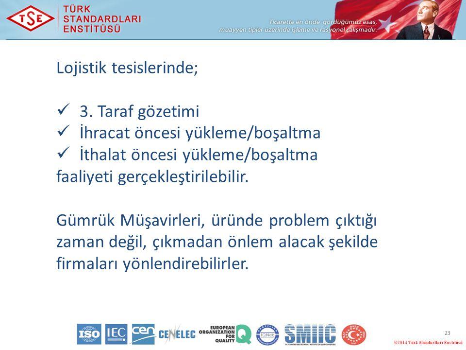 23 ©2013 Türk Standartları Enstitüsü Lojistik tesislerinde; 3. Taraf gözetimi İhracat öncesi yükleme/boşaltma İthalat öncesi yükleme/boşaltma faaliyet