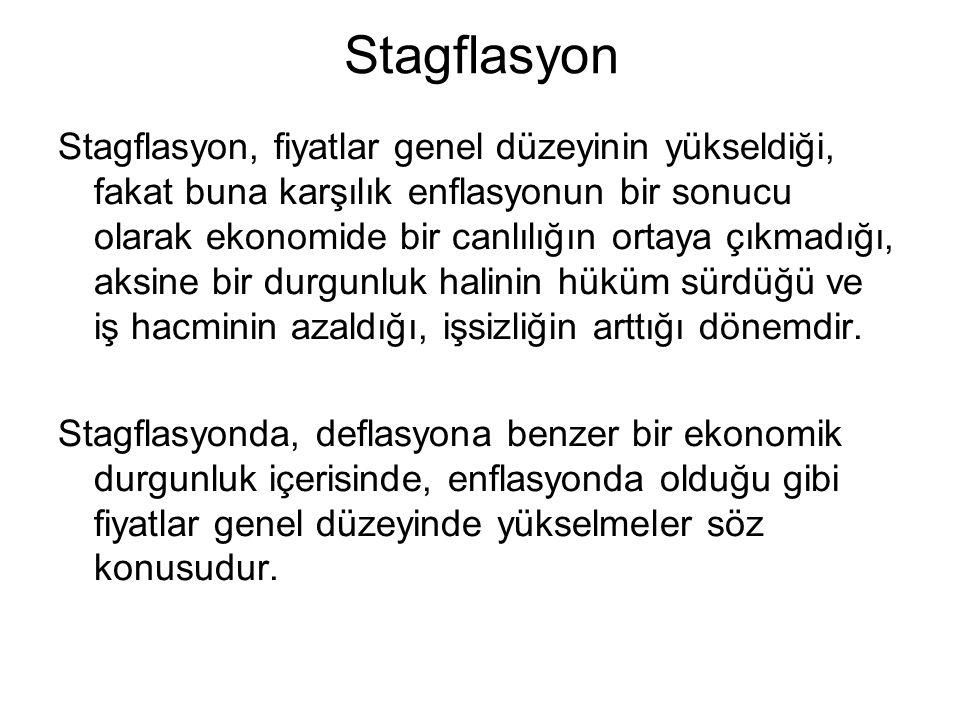 Stagflasyon Stagflasyon, fiyatlar genel düzeyinin yükseldiği, fakat buna karşılık enflasyonun bir sonucu olarak ekonomide bir canlılığın ortaya çıkmad