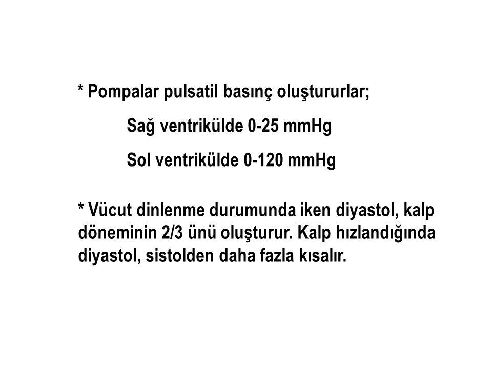 * Pompalar pulsatil basınç oluştururlar; Sağ ventrikülde 0-25 mmHg Sol ventrikülde 0-120 mmHg * Vücut dinlenme durumunda iken diyastol, kalp döneminin