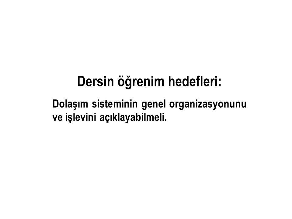 Dersin öğrenim hedefleri: Dolaşım sisteminin genel organizasyonunu ve işlevini açıklayabilmeli.
