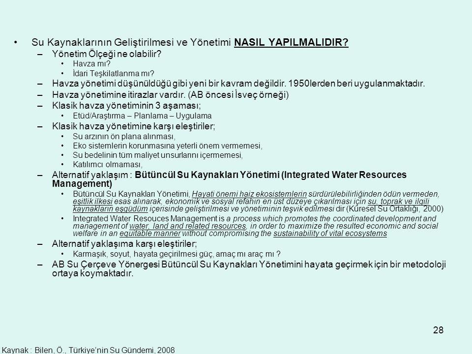 28 Su Kaynaklarının Geliştirilmesi ve Yönetimi NASIL YAPILMALIDIR? –Yönetim Ölçeği ne olabilir? Havza mı? İdari Teşkilatlanma mı? –Havza yönetimi düşü