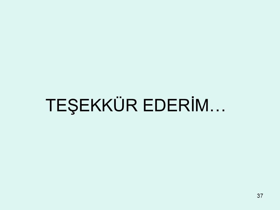 37 TEŞEKKÜR EDERİM…