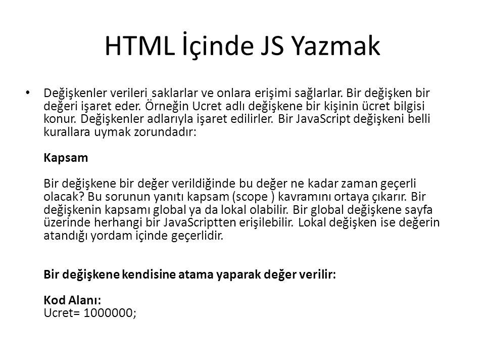 HTML İçinde JS Yazmak Değişkenler verileri saklarlar ve onlara erişimi sağlarlar. Bir değişken bir değeri işaret eder. Örneğin Ucret adlı değişkene bi