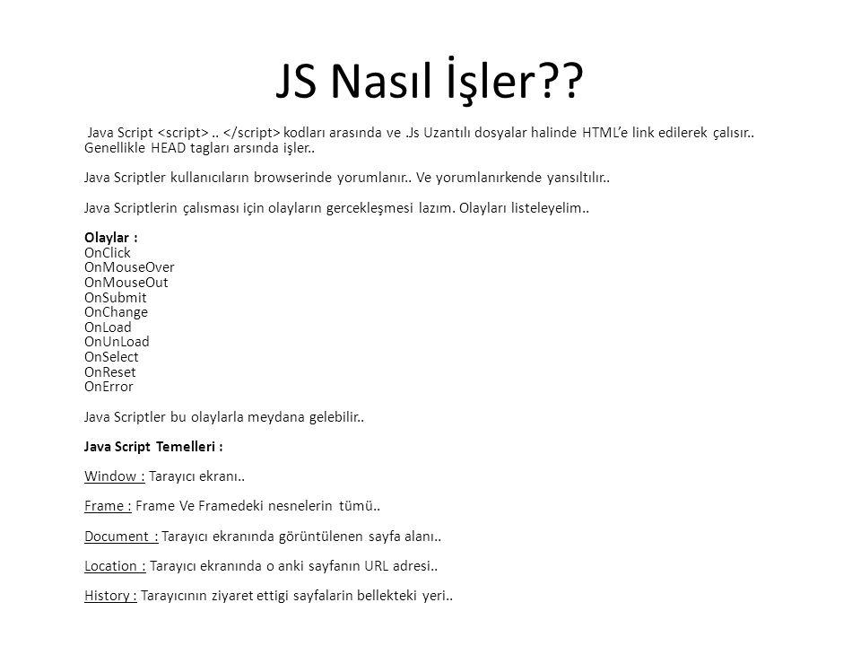 JS Nasıl İşler?? Java Script.. kodları arasında ve.Js Uzantılı dosyalar halinde HTML'e link edilerek çalısır.. Genellikle HEAD tagları arsında işler..