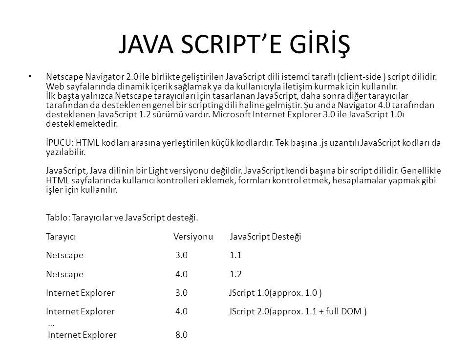JAVA SCRIPT'E GİRİŞ Netscape Navigator 2.0 ile birlikte geliştirilen JavaScript dili istemci taraflı (client-side ) script dilidir. Web sayfalarında d