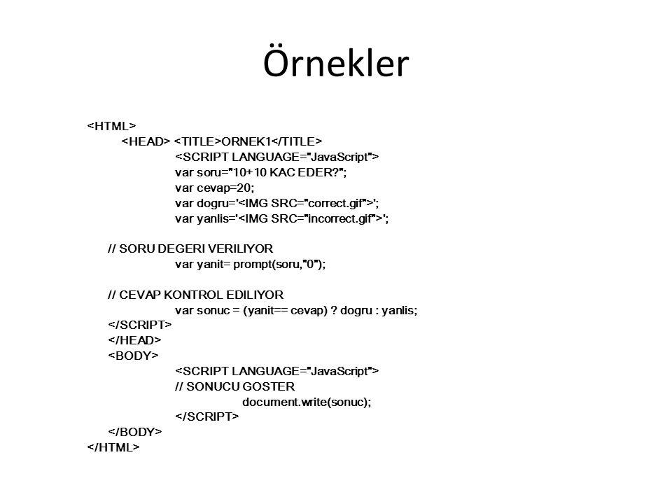 Örnekler ORNEK1 var soru=