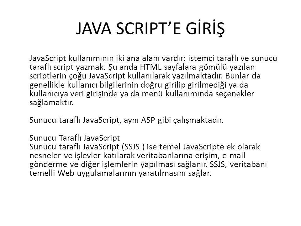 JAVA SCRIPT'E GİRİŞ JavaScript kullanımının iki ana alanı vardır: istemci taraflı ve sunucu taraflı script yazmak. Şu anda HTML sayfalara gömülü yazıl