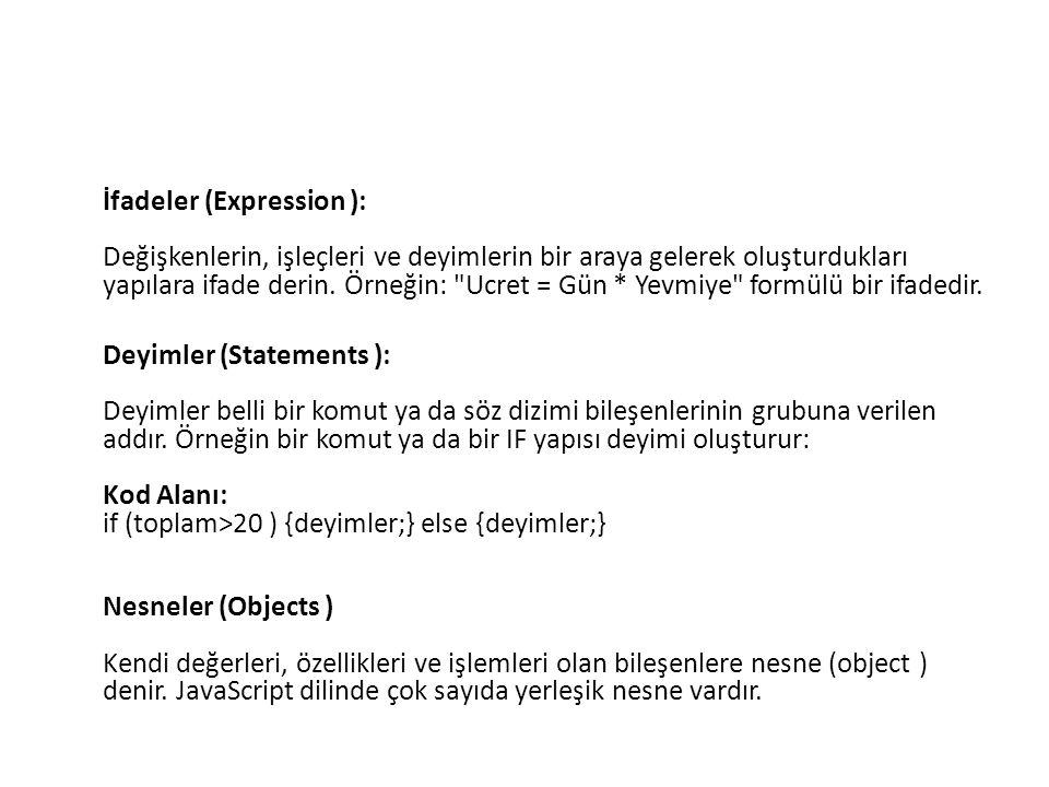 İfadeler (Expression ): Değişkenlerin, işleçleri ve deyimlerin bir araya gelerek oluşturdukları yapılara ifade derin. Örneğin: