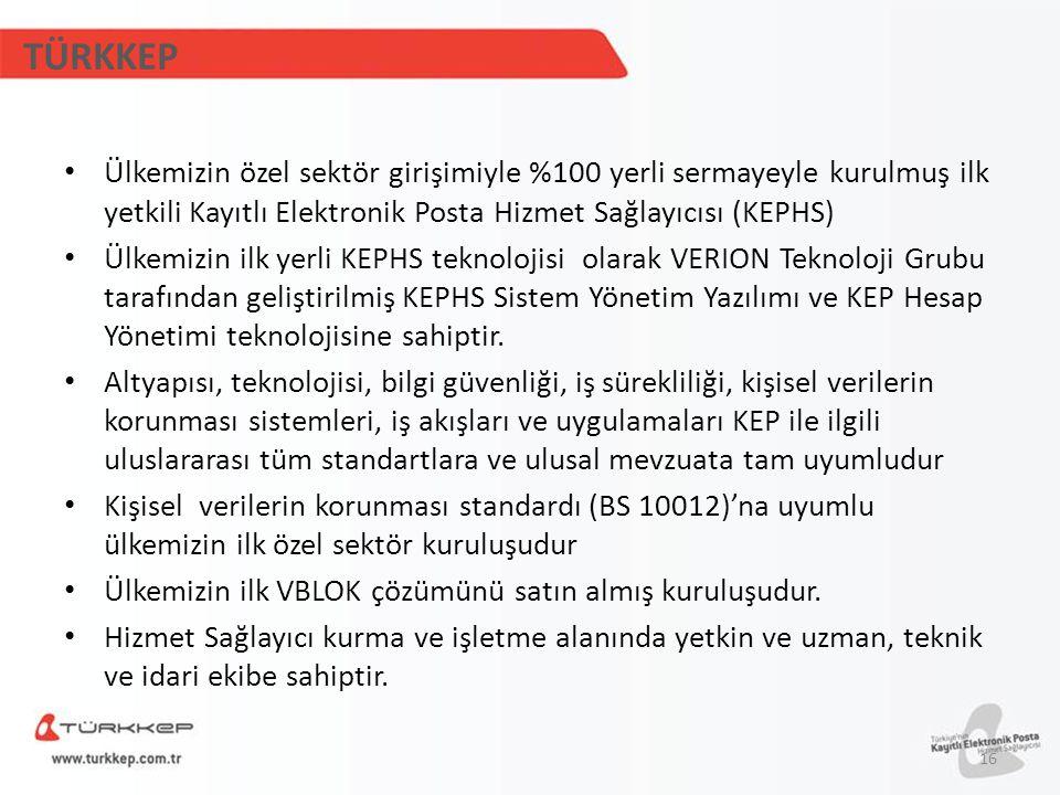 TÜRKKEP Ülkemizin özel sektör girişimiyle %100 yerli sermayeyle kurulmuş ilk yetkili Kayıtlı Elektronik Posta Hizmet Sağlayıcısı (KEPHS) Ülkemizin ilk