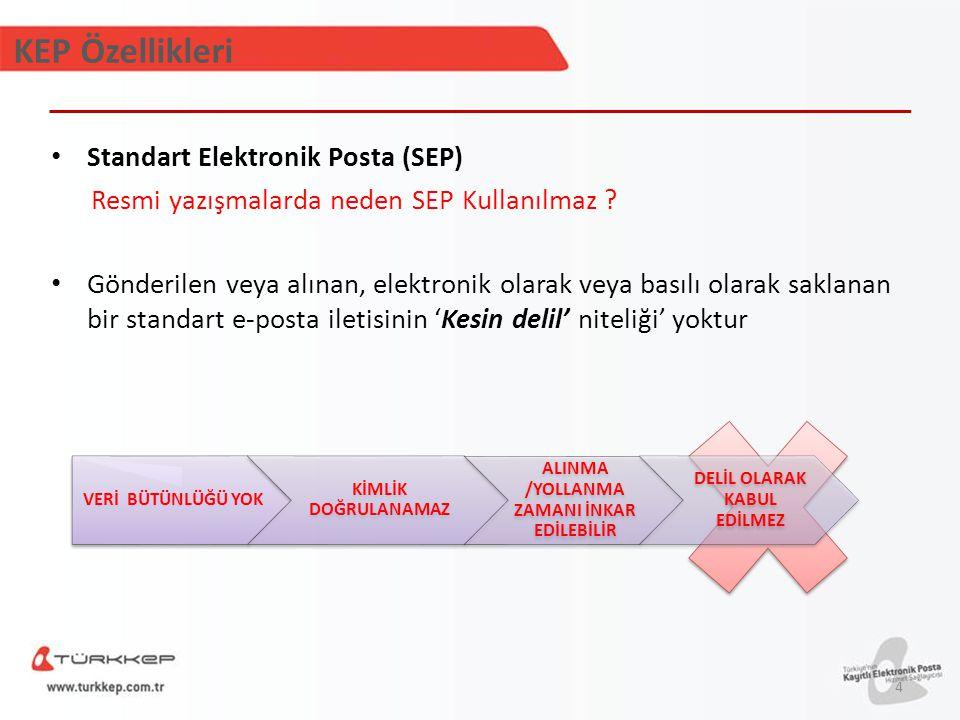 KEP Özellikleri VERİ BÜTÜNLÜĞÜ YOK KİMLİK DOĞRULANAMAZ ALINMA /YOLLANMA ZAMANI İNKAR EDİLEBİLİR DELİL OLARAK KABUL EDİLMEZ Standart Elektronik Posta (