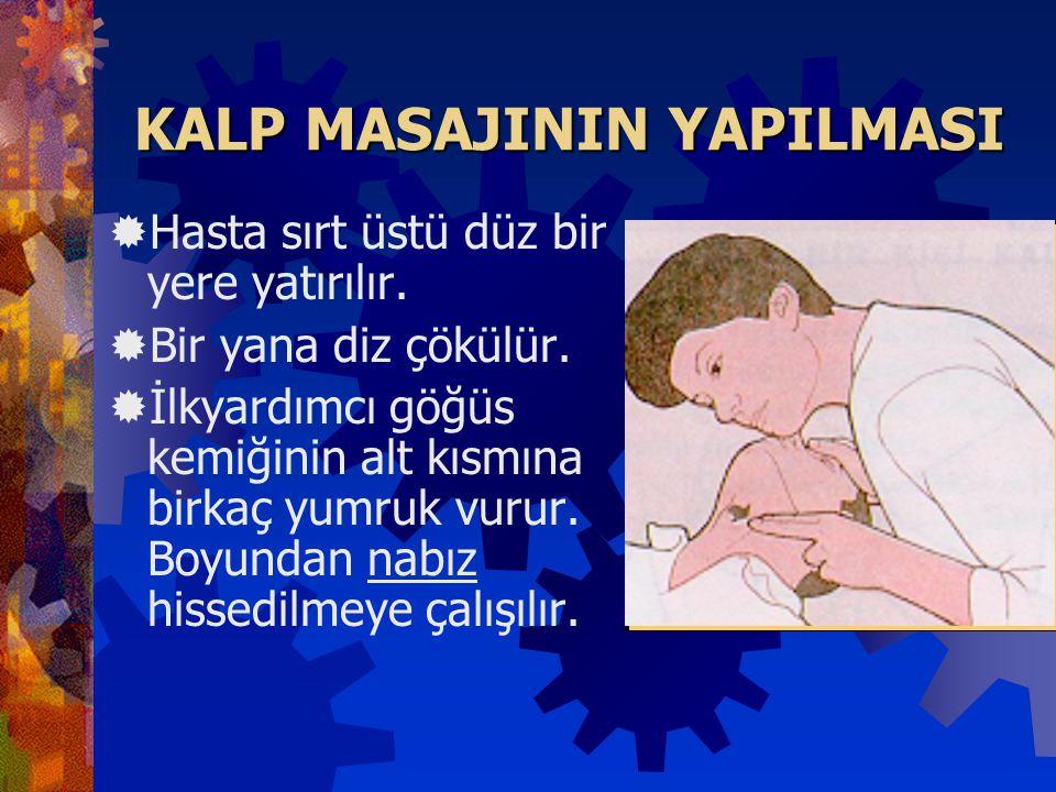 KALP DURMASININ BELİRTİLERİ  Nabız alınmaz.  Göz bebekleri genişler.  Yüz sararmıştır, solunum belirtisi yoktur.  Hasta uyarılara tepki göstermez.