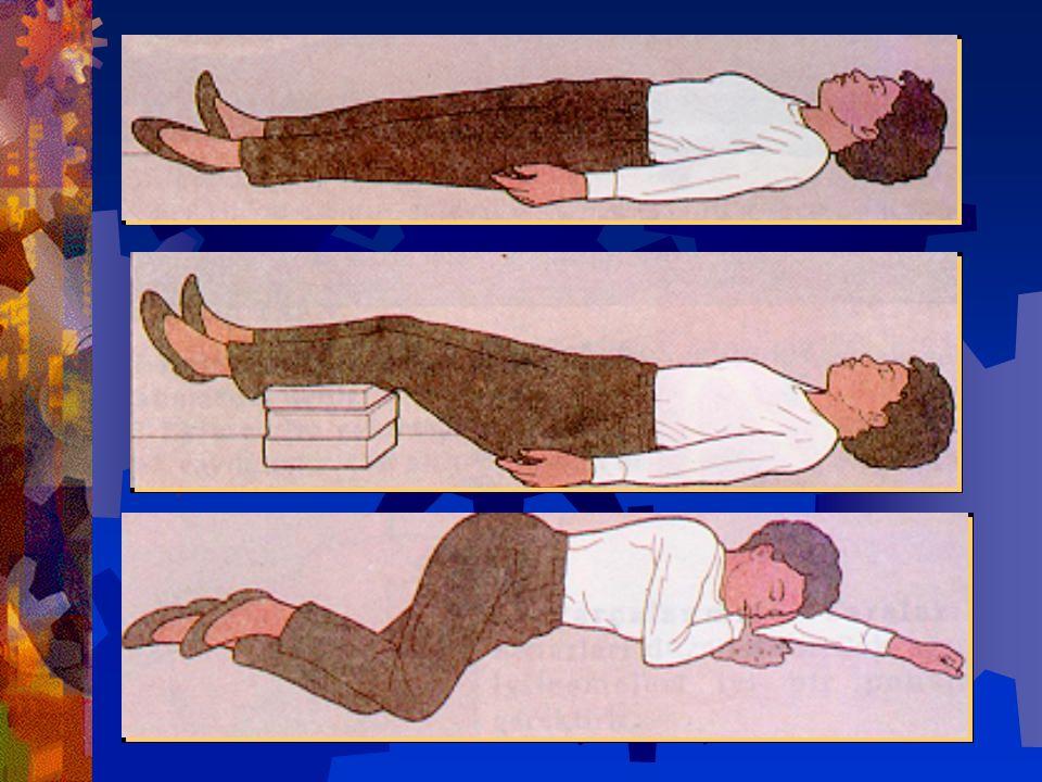 Ayakların 30-40 cm. yükseltilmesi yeterlidir. Yatakta yatıyorsa karyolanın ayak tarafı yükseltilir. Kafa, boyun, göğüs travması geçirenlerde bu uygula
