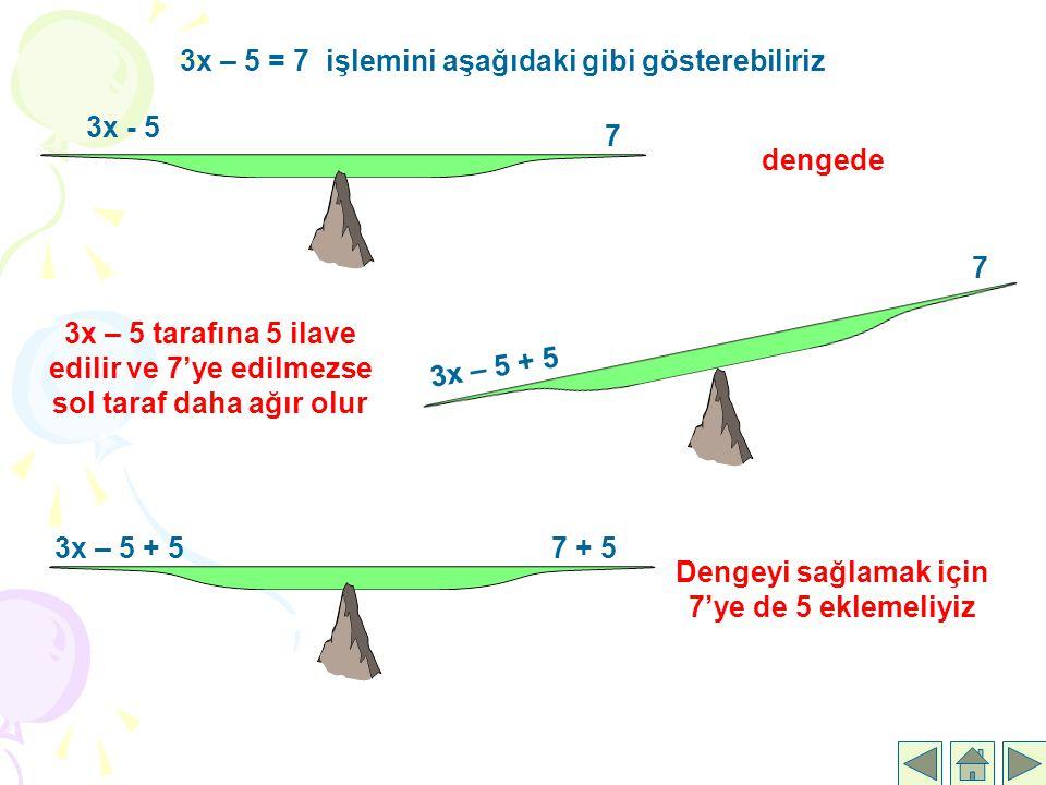 3x – 5 = 7 işlemini aşağıdaki gibi gösterebiliriz 3x - 5 7 dengede 3x – 5 + 5 7 3x – 5 tarafına 5 ilave edilir ve 7'ye edilmezse sol taraf daha ağır o