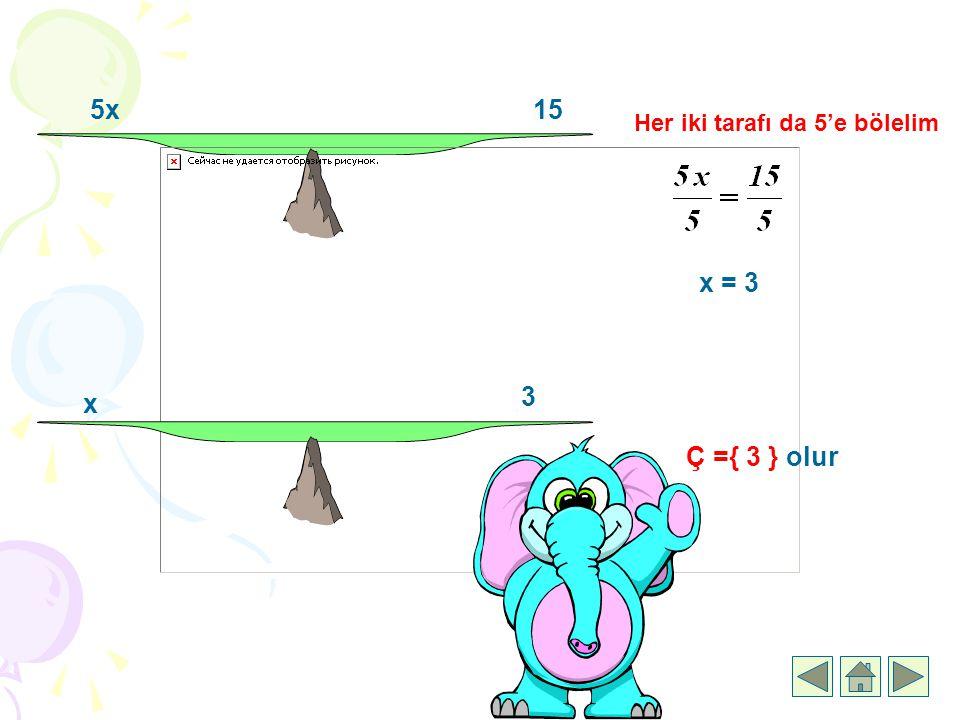 5x15 Her iki tarafı da 5'e bölelim x = 3 x 3 Ç ={ 3 } olur