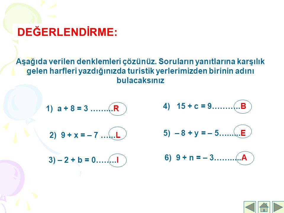 DEĞERLENDİRME: Aşağıda verilen denklemleri çözünüz. Soruların yanıtlarına karşılık gelen harfleri yazdığınızda turistik yerlerimizden birinin adını bu