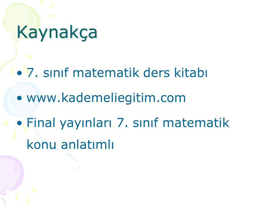Kaynakça 7. sınıf matematik ders kitabı www.kademeliegitim.com Final yayınları 7. sınıf matematik konu anlatımlı