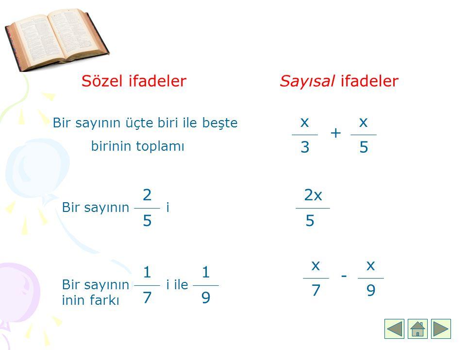 Sözel ifadelerSayısal ifadeler Bir sayının üçte biri ile beşte birinin toplamı x 3 + 5 x Bir sayının i 2 5 Bir sayının i ile inin farkı 1 7 1 9 2x 5 x