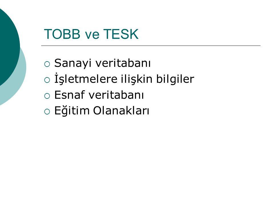 TOBB ve TESK  Sanayi veritabanı  İşletmelere ilişkin bilgiler  Esnaf veritabanı  Eğitim Olanakları
