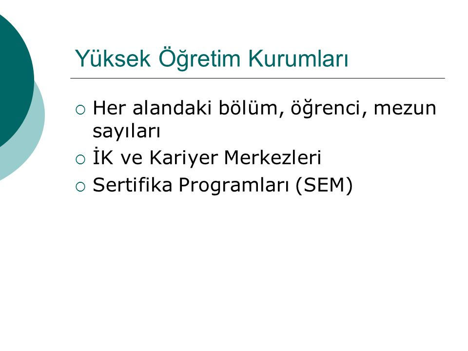 Yüksek Öğretim Kurumları  Her alandaki bölüm, öğrenci, mezun sayıları  İK ve Kariyer Merkezleri  Sertifika Programları (SEM)