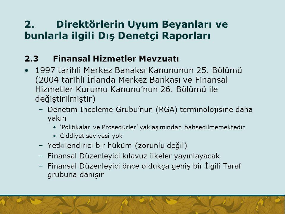 2. Direktörlerin Uyum Beyanları ve bunlarla ilgili Dış Denetçi Raporları 2.3 Finansal Hizmetler Mevzuatı 1997 tarihli Merkez Banaksı Kanununun 25. Böl